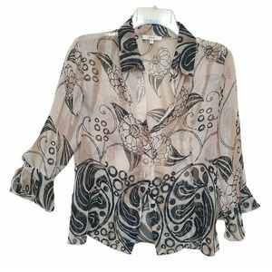 Black Floral 3/4 Sleeve Flutter Cuff Top Blouse S